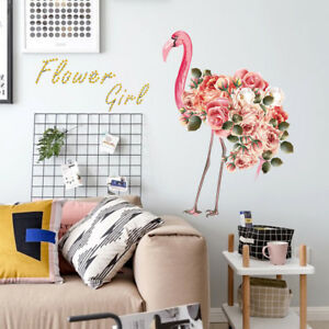 Flamingo with Flowers Wall Stickers Wardrobe Decal Bar Window Art DecoPR