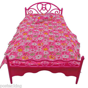 Pink-Pillow-Bedsheet-Bed-1-6-for-Barbie-Monster-High-Dolls-Dollhouse-Furniture