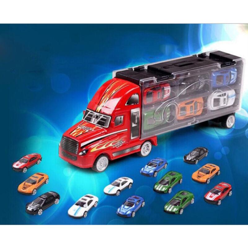 Kinder Spielzeugauto mit 6 Rennautos Spielzeug XXL Transporter De Lieferung DHL