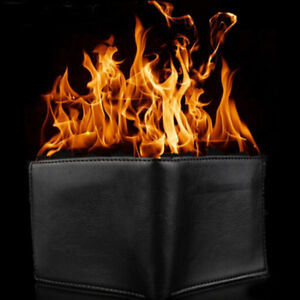 Magic Trick Flame Fire Wallet Leather Magician Stage Perform Street Prop MEV