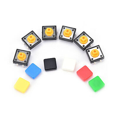20x Tactile Push Button Switch Momentary Micro Switch Button Tact Cap Hvus