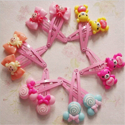 10X Cartoon Beads Candy Color Hair Clips Girls' Hair Ties Kids BB Hairpin In 9UK