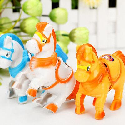 Wind Up Animal Running Moving Horse Classic Clockwork Plastic Kids Toys Gift ZN