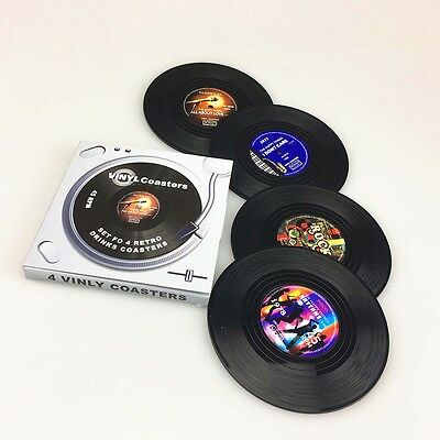 4pcs Spinning Vintage Vinyl Record Drinks Coasters Cup Holder Mat Tableware