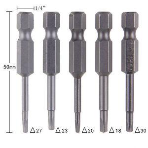 5PCS P&T Magnetic Triangle Heads Screwdriver Bits S2 Steels 1/4 Hex Shank △18-30