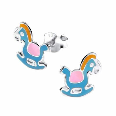 Rocking Horse Sterling Silver Stud Earrings - Boxed Petite Childrens Small