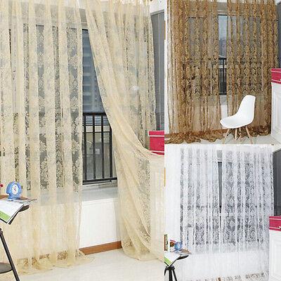 Retro Vintage Flocked Floral Voile Door Window Curtain Panel Sheer Tulle - Retro Window