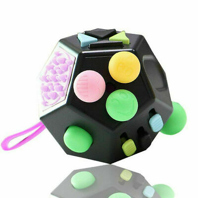 Desk Stress Relief Cubes Kids Toys Fidget Cube II 12-Side For Adult Children UK