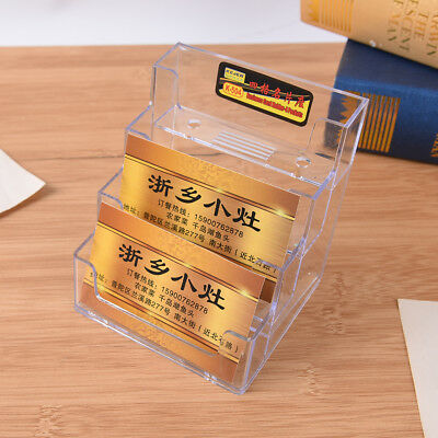 4 Pocket Desktop Clear Acrylic Business Card Holder Countertop Display Stand S5