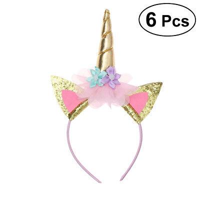 6x Einhorn Haarreif Horn Kostüm Karneval Unicorn Stirnband Kopfschmuck - Unicorn Horn Kostüm