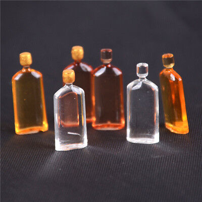 6pcs Dollhouse Miniature Wine Whisky Bottles Pub Bar Drinks AccessoryMiniDecorNP