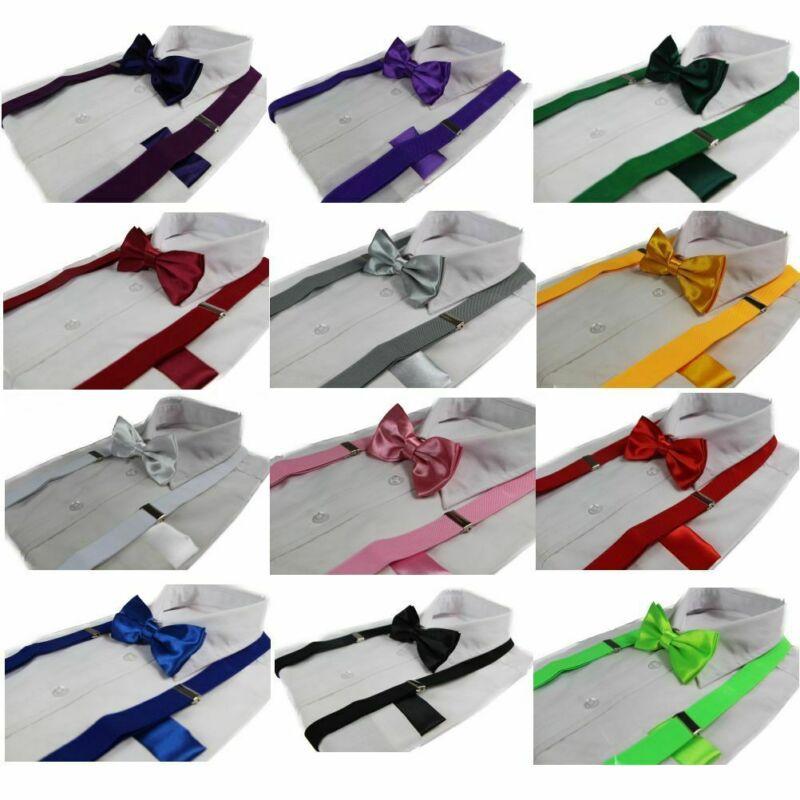 Mens 3 Piece Combo: Adjustable Suspenders Braces + Bow Tie + Pocket Square Hanky