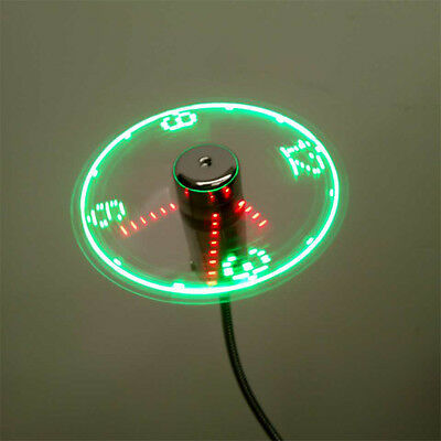 USB Mini Flexible Time LED Clock Fan with LED Light Gadgets Cool Fan FO