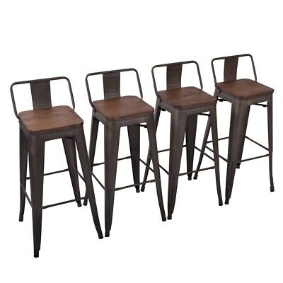 4× Metal Bar Stools 30