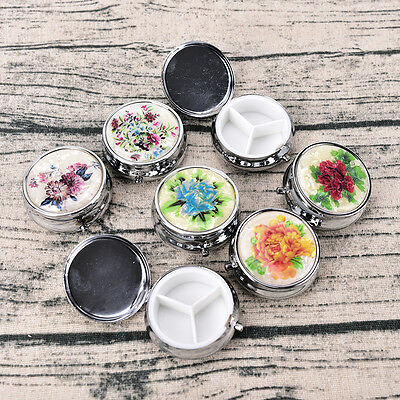 Metal Folding Pill Case Medicine Organizer Pill Box Makeup Storage Container.US](Metal Containers)