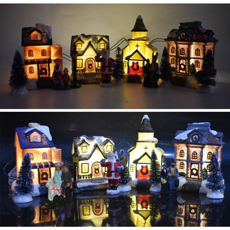 LED Christmas Village Houses Resin Christmas Ornaments Santa Claus  Buildings