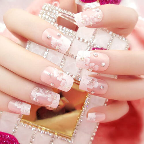 24X Gefälschte Fingernagel tipps Lange Falsche Nägel Acryl Full Cover Nail FBB