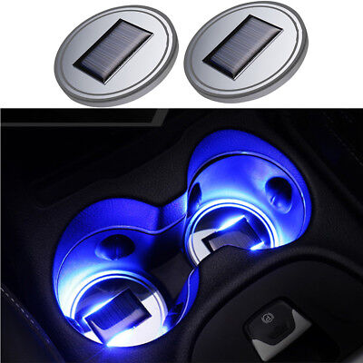 2X Solar Cup Holder LED Light Atmosphere Lamp Bottom Pad Cover Trim For All Car