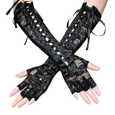 Black Elbow Gloves (Women's Sexy Elbow Length Fingerless Lace Up Arm Warmer Black Long Lace)