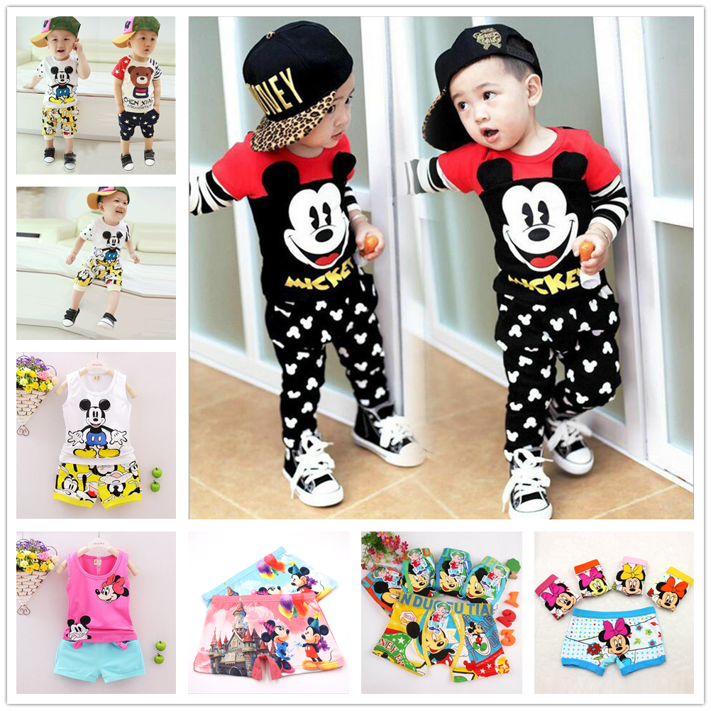 Baby Cartoon T-shirt Pants Set Summer Kids Clothes Toddler Mickey Mouse Cotton