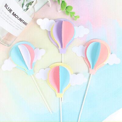 - 3D Hot Air Balloon Cloud Shape Cake Picks Cupcake Topper Birthday Supplies BH