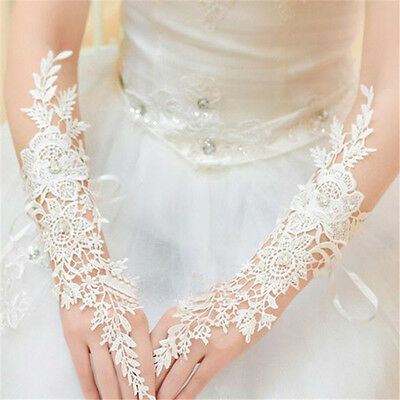 New White/Ivory Lace Long Fingerless Wedding Accessory Bridal Party Gloves JM