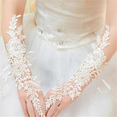 New White/Ivory Lace Long Fingerless Wedding Accessory Bridal Party Gloves Ws - Lace Fingerless Gloves