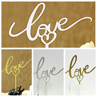 LOVE Cake Topper Sparkle Glitter Gold Wedding Decorating Engagement Party DIY CA