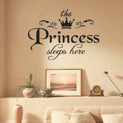 Princess Sleeps Baby Kids Girl Quote Wall Stickers Art Room