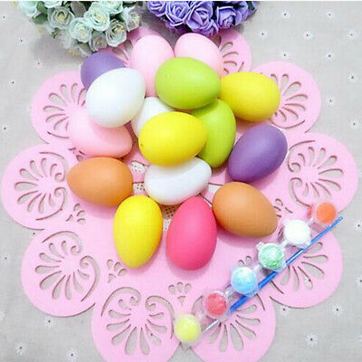 6x Plastic Easter Egg DIY Painting Eggs Toy Gifts Ornament Easter Party DecorIU