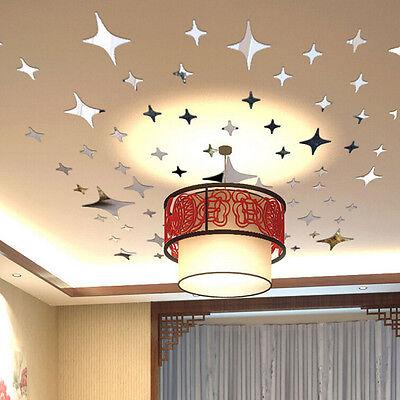 50pcs 3D Stars Mirror Wall Sticker Bling Effect Home Room De