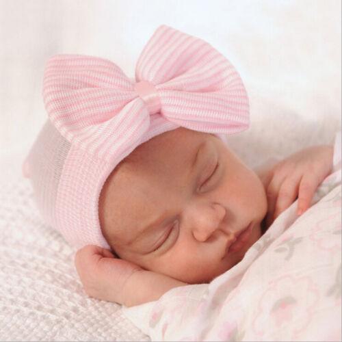 1X Newborn Baby Infant Girl Toddler  Comfy Bowknot Hospital Cap Beanie Hat*RU
