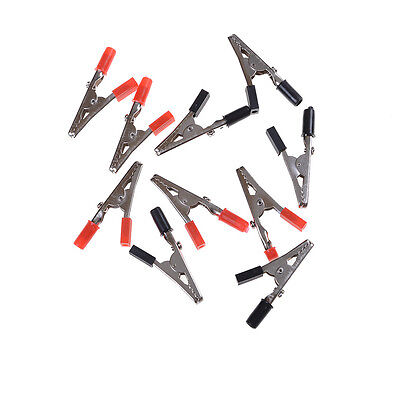 10pcs 50mm Black Red Plastic Handle Test Probe Metal Alligator Clips Lr
