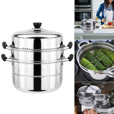 28cm Stainless Steel 3Tier Steamer Induction Dim Sum Steam Steam Pot Cookware BI