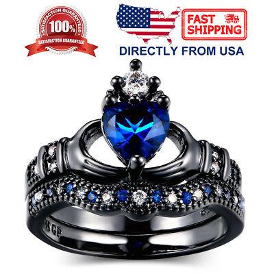 Women's Blue Cubic Ziconia Irish Friendship Heart Love Claddagh Ring Set