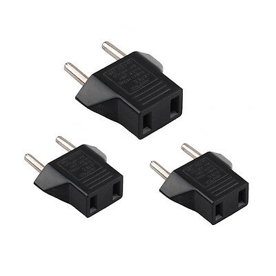 3X USA US To EU Europe Travel Charger Power Adapter Converter Wall Plug Home TOC