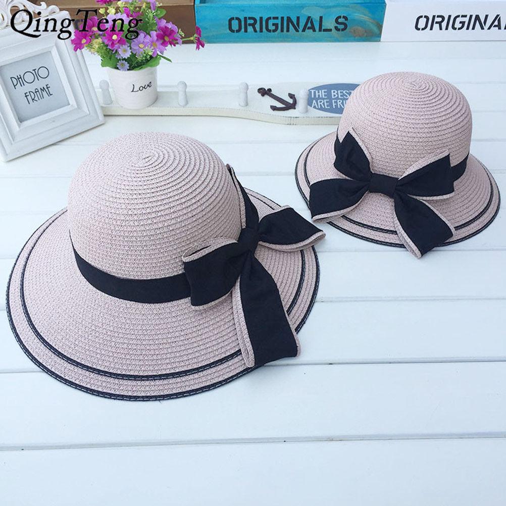 414c89734 Details about Summer Black Bow Straw Hat Girls Women UV Protection Wide  Brim Beach Sun Hat