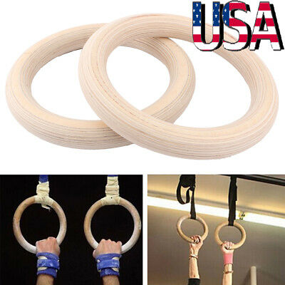 2x Gymnastic Ring Strength Training Gym Rings Wooden Practical w/ Buckle Straps