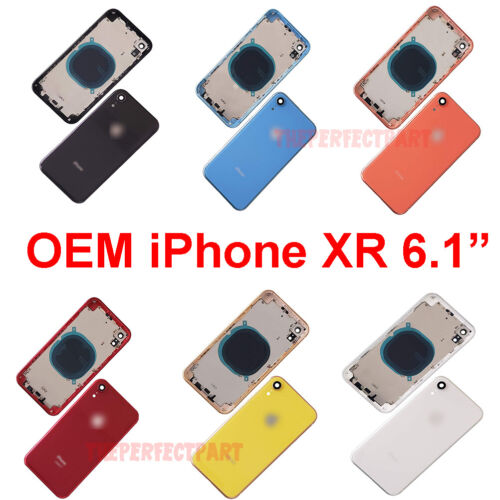 OEM Replacement Back Rear Glass Housing Battery Door Cover Frame For iPhone XR
