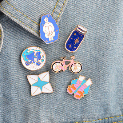 (Brooches&pins Pink bicycle earth blue wish bottle sock sandal Enamel Pin Gift TB)