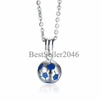 Soccer Charm Stainless Steel Sports Pendant Necklace for Teens Girl Boys Men 22""