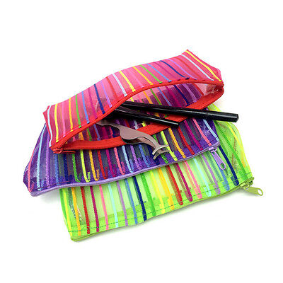 Mini  Colorful lines wash bags Cosmetic Bag New Transparent storage bags BH