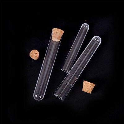 10plastic Clear Test Tube With Cork Lab Science Vial Sample Container Bottle Hv
