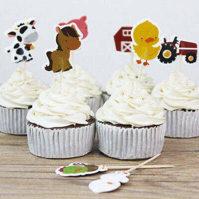 24X Farm Animal Theme Party Cupcake Toppers Pick Kid Birthday Party Decor PLWD](Farm Animal Cupcake Toppers)