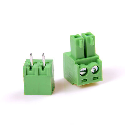 10pcs 2edg 2pin Plug-in Screw Terminal Block Connector 3.81mm Pitch Right Ang Sm