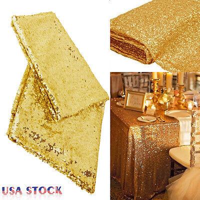 Rectangular Sequin Tablecloth Table Cloth Wedding Party Banquet Decor Gold - Gold Tablecloth
