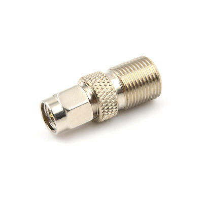 F Type Female to SMA Male Plug Coaxial Adapter Connector Silver Tone%%