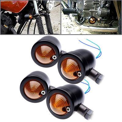 4x Black Front Rear Bullet Motorcycle Turn Signal Indicator Amber Blinker Lights
