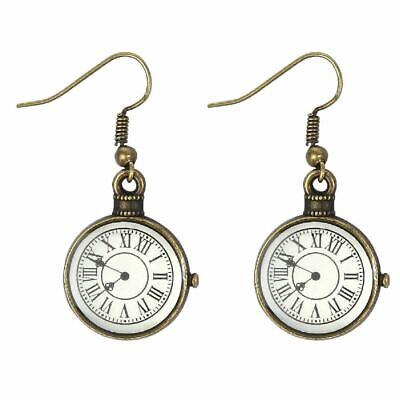 Vintage Reloj Diseño Pendientes: Latón