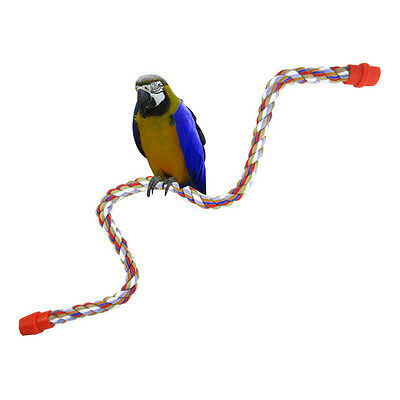 Bird Parrot Rope Cockatiel Parakeet Conure Cage Standing Perch Chew Peck Toy  VN